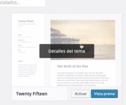 Detalles de tema wordpress